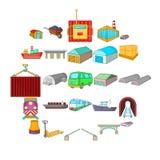 Industry icons set, cartoon style. Industry icons set. Cartoon set of 25 industry vector icons for web isolated on white background Stock Photo