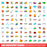 100 industry icons set, cartoon style Stock Photo