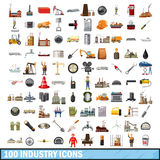 100 industry icons set, cartoon style. 100 industry icons set in cartoon style for any design vector illustration Royalty Free Stock Images