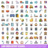 100 industry icons set, cartoon style. 100 industry icons set in cartoon style for any design vector illustration Royalty Free Stock Image
