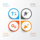 Industry Icons Set. Collection Of Spatula, Cogwheel, Carry Cart And Other Elements. Also Includes Symbols Such As. Industry Icons Set. Collection Of Spatula Royalty Free Stock Photography