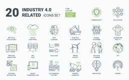 Industry 4.0 Simple Icons Set with Editable Stroke and Linear Style vector illustration