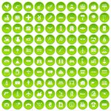 100 industry icons set green. 100 industry icons set in green circle isolated on white vectr illustration Royalty Free Stock Photography