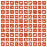 100 industry icons set grunge orange. 100 industry icons set in grunge style orange color isolated on white background vector illustration Stock Images