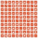 100 industry icons set grunge orange. 100 industry icons set in grunge style orange color isolated on white background vector illustration stock illustration