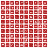 100 industry icons set grunge red. 100 industry icons set in grunge style red color isolated on white background vector illustration Stock Image