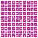 100 industry icons set grunge pink. 100 industry icons set in grunge style pink color isolated on white background vector illustration Royalty Free Stock Image