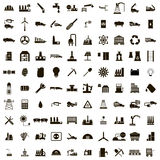 100 Industry icons set. Isolated on white background Stock Photography