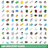 100 industry icons set, isometric 3d style Stock Images