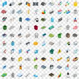 100 industry icons set, isometric 3d style Stock Photo