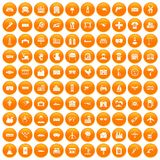 100 industry icons set orange. 100 industry icons set in orange circle isolated on white vector illustration Royalty Free Stock Photo