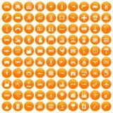100 industry icons set orange. 100 industry icons set in orange circle isolated on white vector illustration stock illustration