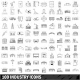 100 industry icons set, outline style Royalty Free Stock Photos