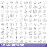 100 industry icons set, outline style Stock Photo