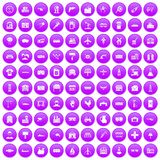 100 industry icons set purple Stock Images
