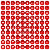 100 industry icons set red. 100 industry icons set in red circle isolated on white vector illustration Royalty Free Stock Photo