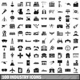 100 industry icons set, simple style. 100 industry icons set in simple style for any design vector illustration Stock Photography