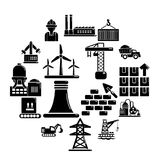 Industry icons set, simple style. Industry icons set. Simple illustration of 16 Industry vector icons for web stock illustration