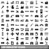 100 industry icons set, simple style. 100 industry icons set in simple style for any design illustration vector illustration