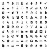 Industry 100 icons set for web. Flat stock illustration