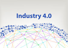 Industry 4.0  illustration background. Internet of things concept visualized by globe wireframe and connections Stock Photography