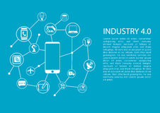 Industry 4.0 / industrial internet of things concept with mobile phone connected to network of devices. Royalty Free Stock Photography