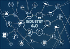 Industry 4.0 industrial internet of things (IIOT) background. Vector illustration of industrial connected devices Royalty Free Stock Image
