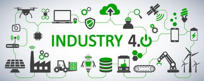 Industry 4.0 infographic factory of the future - for stock vector illustration
