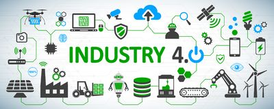 Industry 4.0 infographic factory of the future - stock vector vector illustration