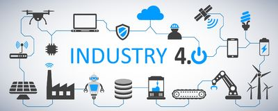 Industry 4.0 infographic factory of the future - vector vector illustration