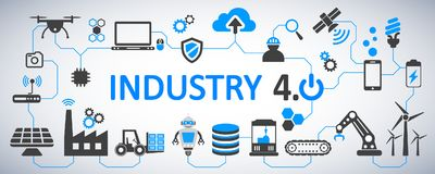 Industry 4.0 infographic factory of the future - vector royalty free illustration