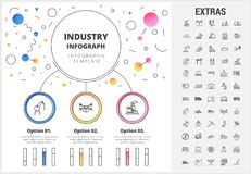 Industry infographic template, elements and icons. Industry circle infographic template, elements and icons. Infograph includes customizable bar charts, graphs Stock Image