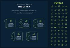 Industry infographic template, elements and icons. Industry options infographic template, elements and icons. Infograph includes options, line icon set with stock illustration