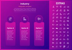 Industry infographic template, elements and icons. Industry options infographic template, elements and icons. Infograph includes options, line icon set with Royalty Free Stock Photos