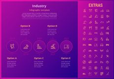 Industry infographic template, elements and icons. Industry options infographic template, elements and icons. Infograph includes options, line icon set with Royalty Free Stock Photo