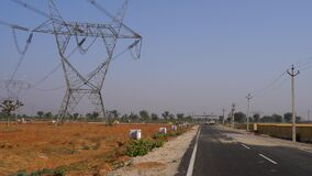 Industry infrastructure development concept. New allotted land for heavy machinery industries