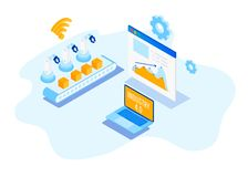 Industry 4.0, Internet of Things. Isometric Factory automation, Industry 4.0, Internet of Things, Vector illustration for connected devices using different royalty free illustration