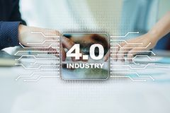 Industry 4.0. IOT. Internet of things. Smart manufacturing concept. Industrial 4.0 process infrastructure. background. Royalty Free Stock Image
