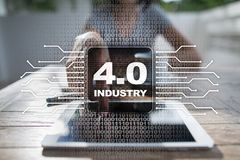 Industry 4.0. IOT. Internet of things. Smart manufacturing concept. Industrial 4.0 process infrastructure. background. Royalty Free Stock Photography