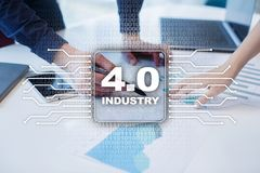 Industry 4.0. IOT. Internet of things. Smart manufacturing concept. Industrial 4.0 process infrastructure. background. Royalty Free Stock Images