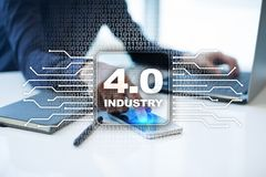 Industry 4.0. IOT. Internet of things. Smart manufacturing concept. Industrial 4.0 process infrastructure. background. Stock Images