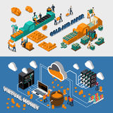 Industry Isometric Horizontal Banners. With gold paper and virtual money manufacturing vector illustration Royalty Free Stock Images