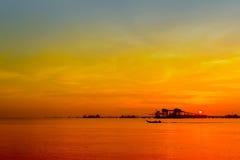 Industry jetty via sunset Royalty Free Stock Photo