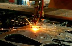 Industry laser cutting machine. Metal steel iron precision CNC laser cutting machine industry. Closeup from CNC Machine, Sheet metal cutting. Metalwork industry stock photo
