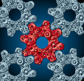 Industry Leadership. And innovative company concept setting the trend for other companies with gears and cogs in the shape of large machine parts connected Stock Photos