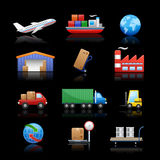 Industry & logistics Icons // Black Background Stock Photo