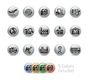 Industry and Logistics Icons -- Metal Round Series Royalty Free Stock Photo