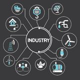 Industry and manufactoring icons, infographic Royalty Free Stock Photo