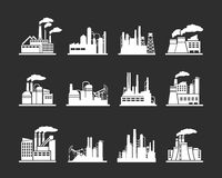 Industry manufacturing building icons. Set of industry manufacturer building icons. Plant and factory, power and smoke, oil and energy, nuclear manufacturing stock illustration