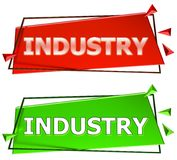 Industry sign. Industry modern 3d sign isolated on white background,color red and green Royalty Free Stock Photos